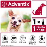 ADVANTIX Spot-on pre psov do 4 kg (1 pipeta) 1x0,4 ml