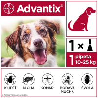 ADVANTIX Spot-on pre psov od 10 do 25 kg (1 pipeta) 1x2,5 ml