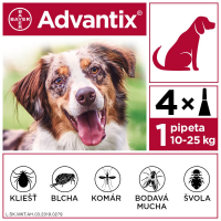 ADVANTIX Spot-on pre psov od 10 do 25 kg (4 pipety) 4x2,5 ml