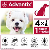 ADVANTIX Spot-on pre psov od 4 do 10 kg (4 pipety) 4x1 ml