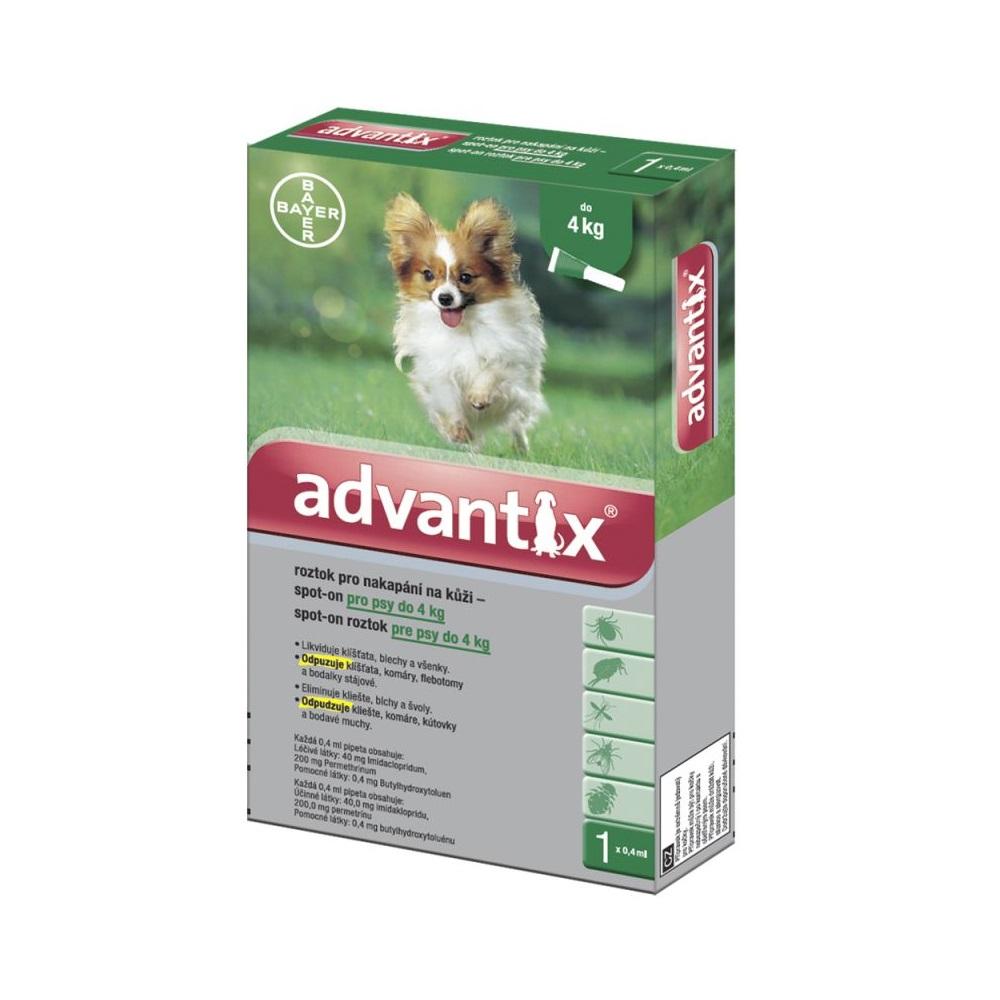 ADVANTIX Spot-on pre psy do 4 kg (1 pipeta) 1x0,4 ml