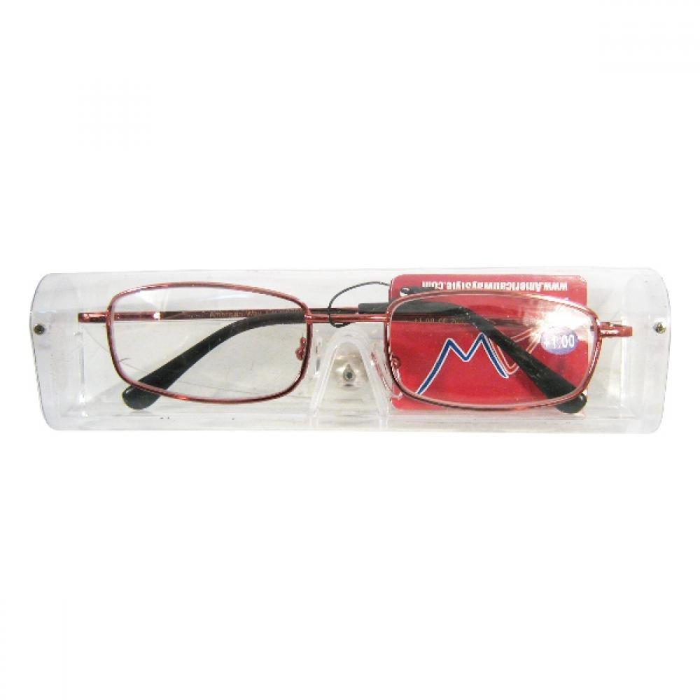 Okuliare čtecí American Way + 1.00 červené v etui