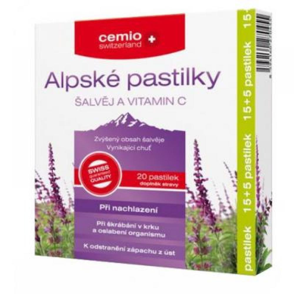 Cemio Alpské pastilky Šalvia a Vitamíny C 15 + 5 pastiliek ZADARMO