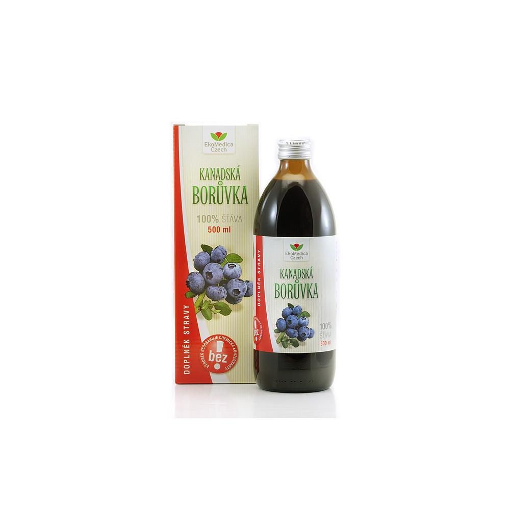 EKOMEDICA 100% ovocná šťava z kanadské čučoriedky 500 ml
