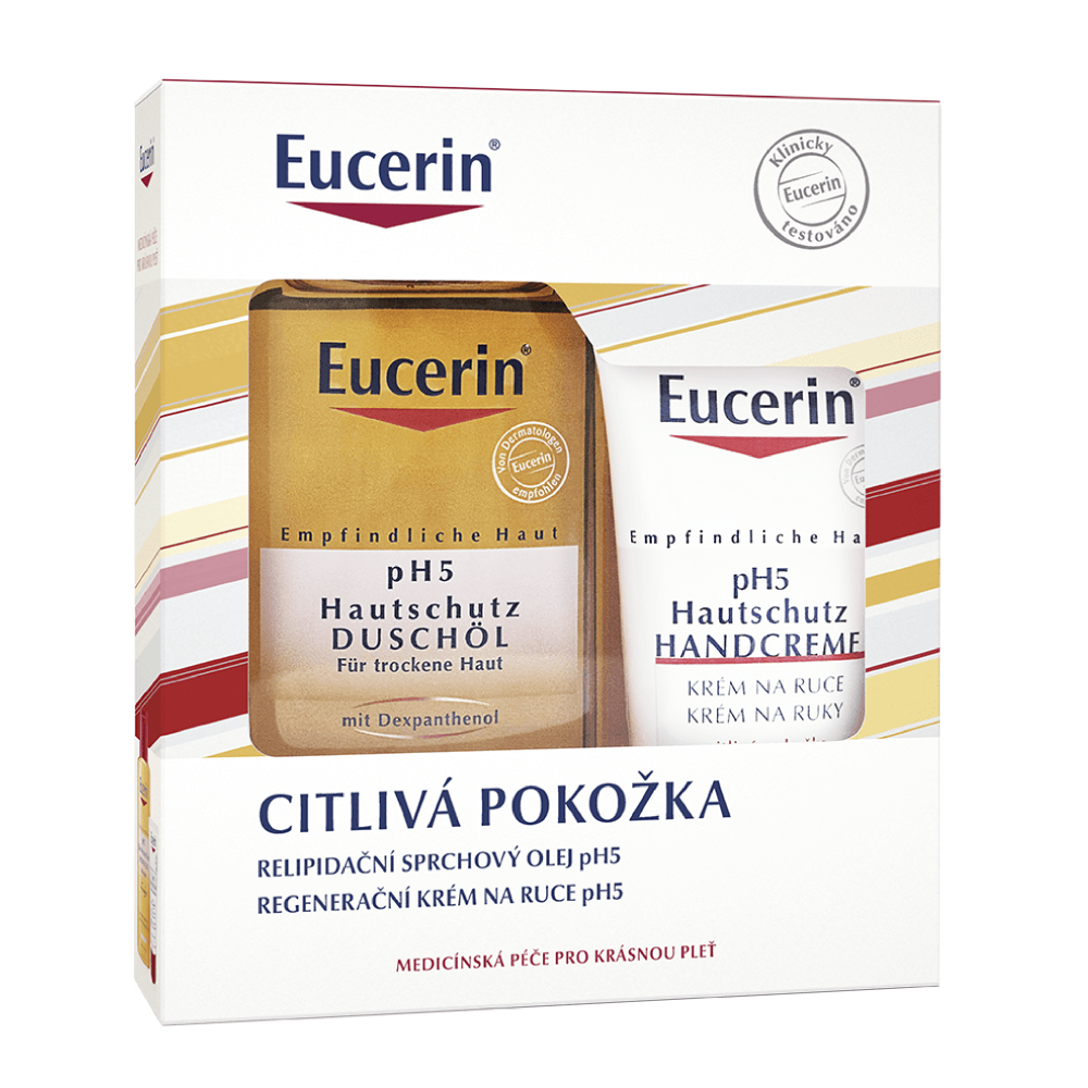 Eucerin pH5 Vianočná kazeta relipidačný sprchový olej 200 ml + regeneračný krém na ruky 75 ml, 1x1 set