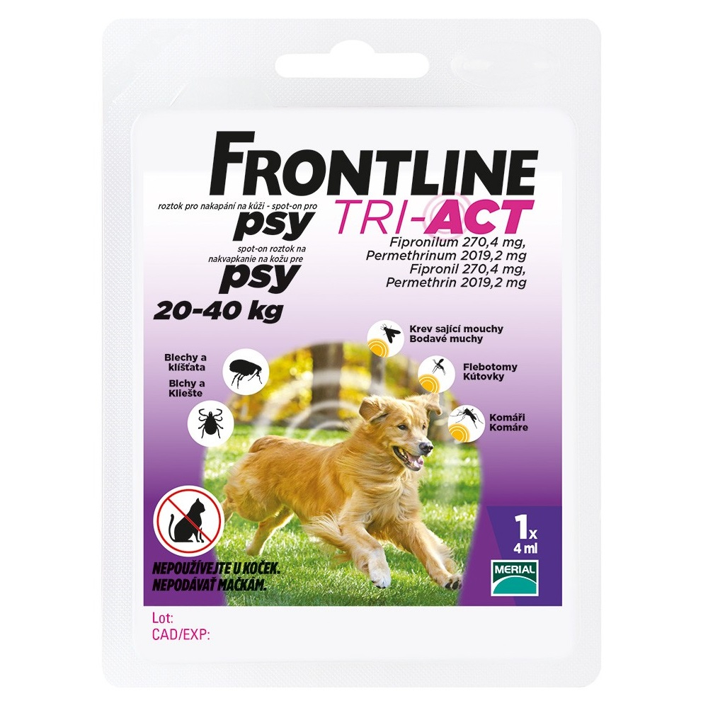 FRONTLINE Tri-Act Spot-On pre psy L sol (na kožu, psy 20-40 kg) 1x4 ml