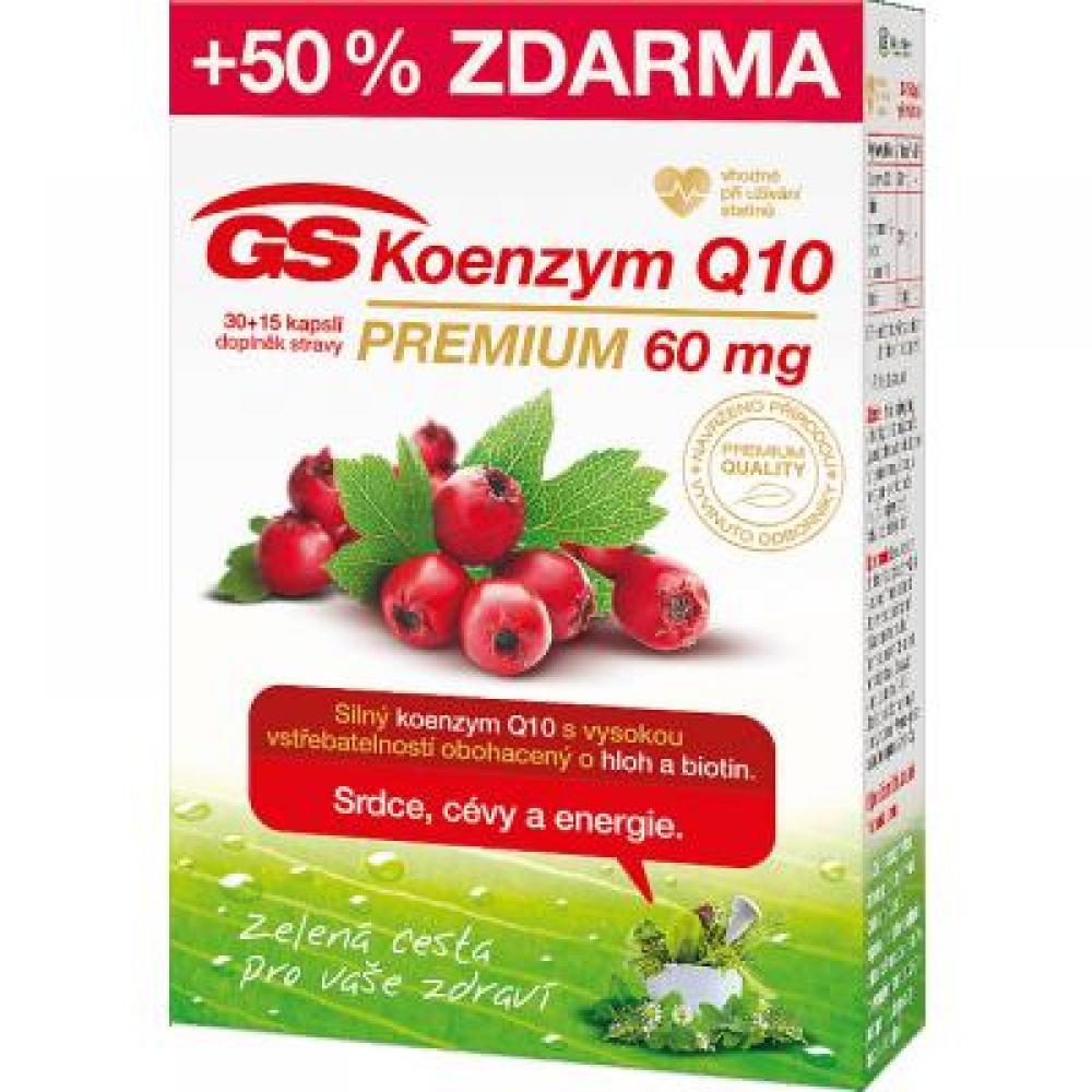 GS Koenzým Q10 PREMIUM 60 mg 30+15 kapsúl ZADARMO