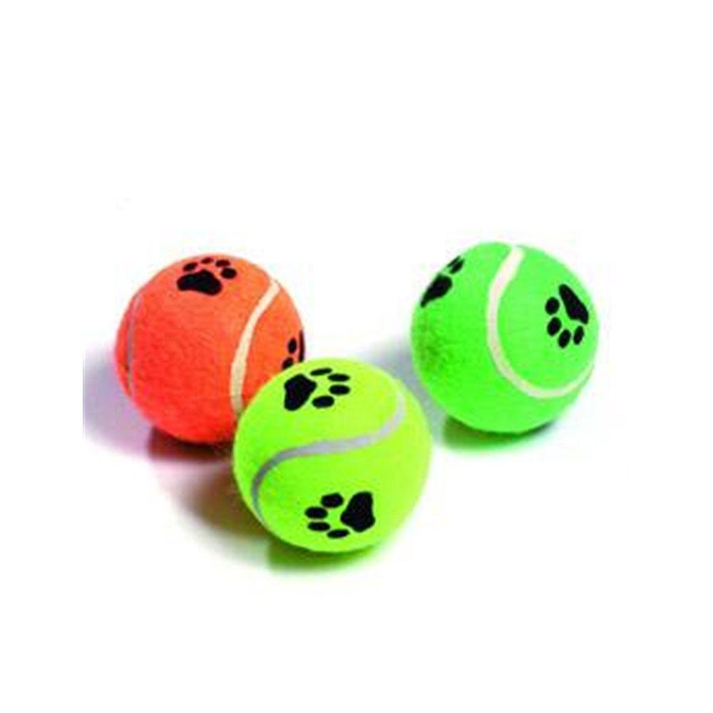Hračka pre psa Lopta tenisová pískacia s labkou 6cm KAR 3ks