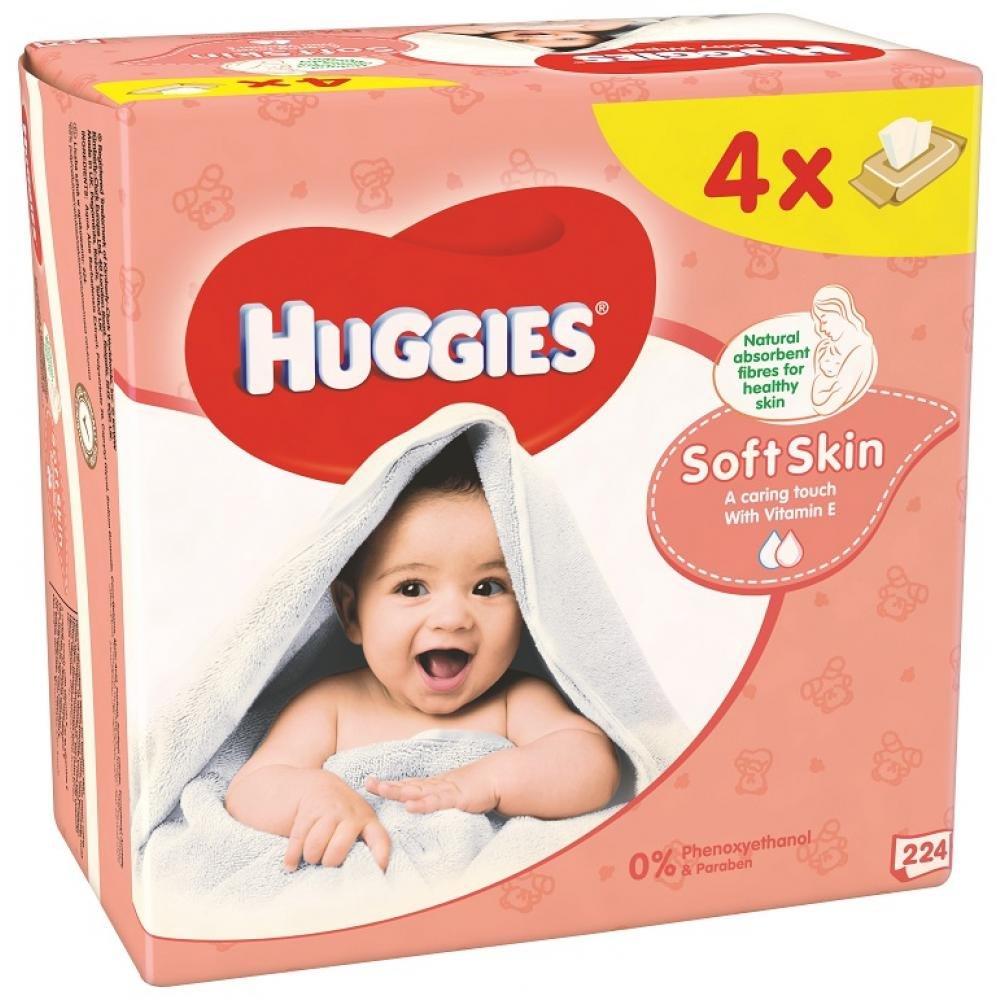Huggies Soft skin Vlhčené obrúsky 4x56ks