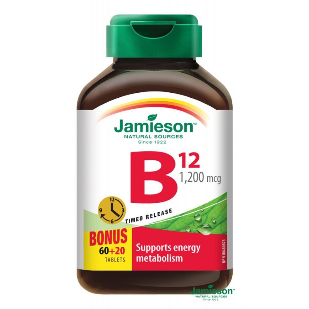 JAMIESON Vitamin B12 1200mcg, 60+20 predlz. ucinok