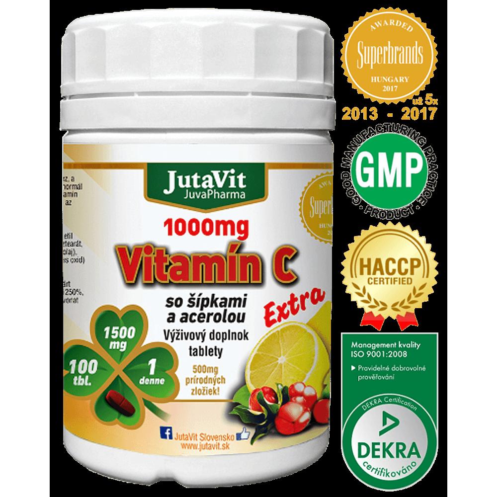 JutaVit Vitamín C 1000 so šípkami a acerolou 100 tabliet