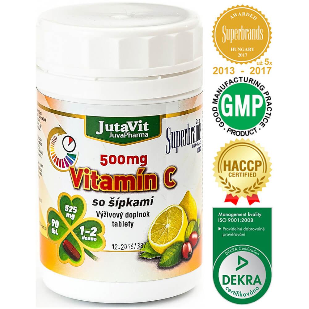 JutaVit Vitamín C so šípkami 500 mg 90 tabliet