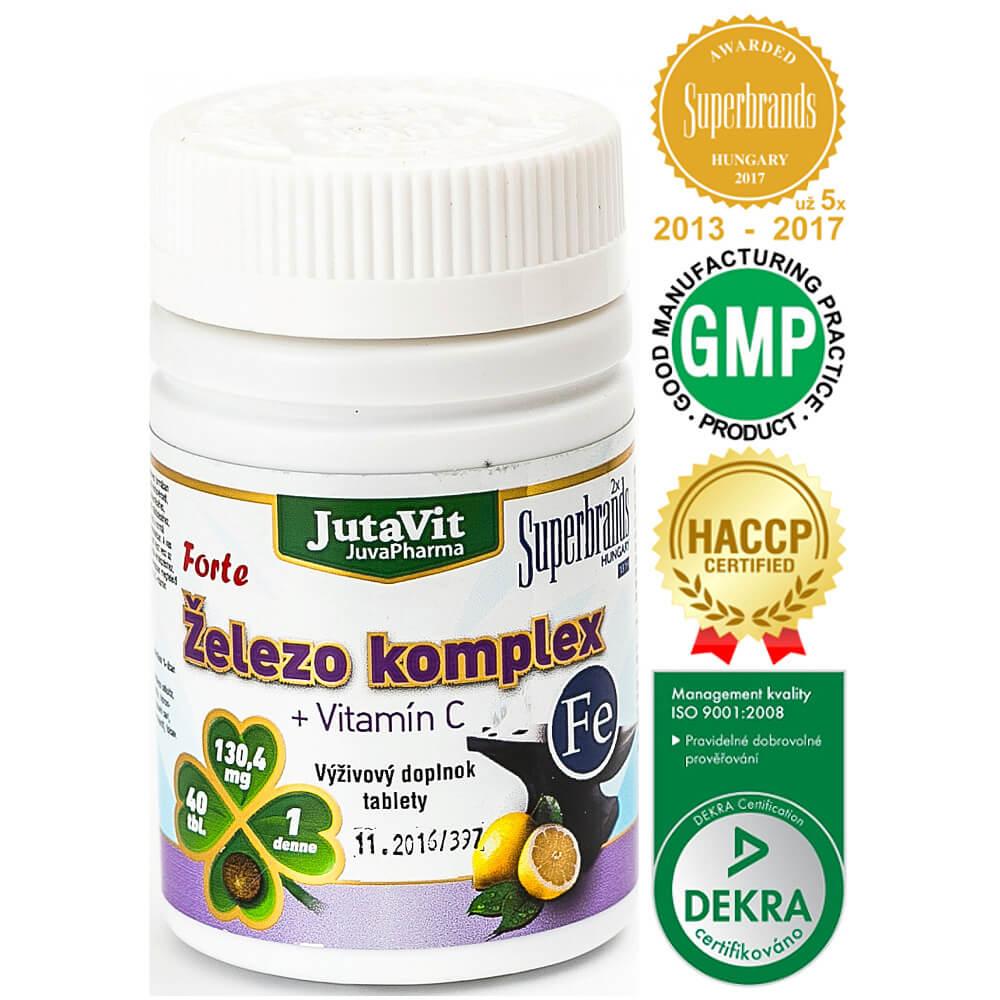 JutaVit Železo Kompex + Vitamín C 40 tabliet