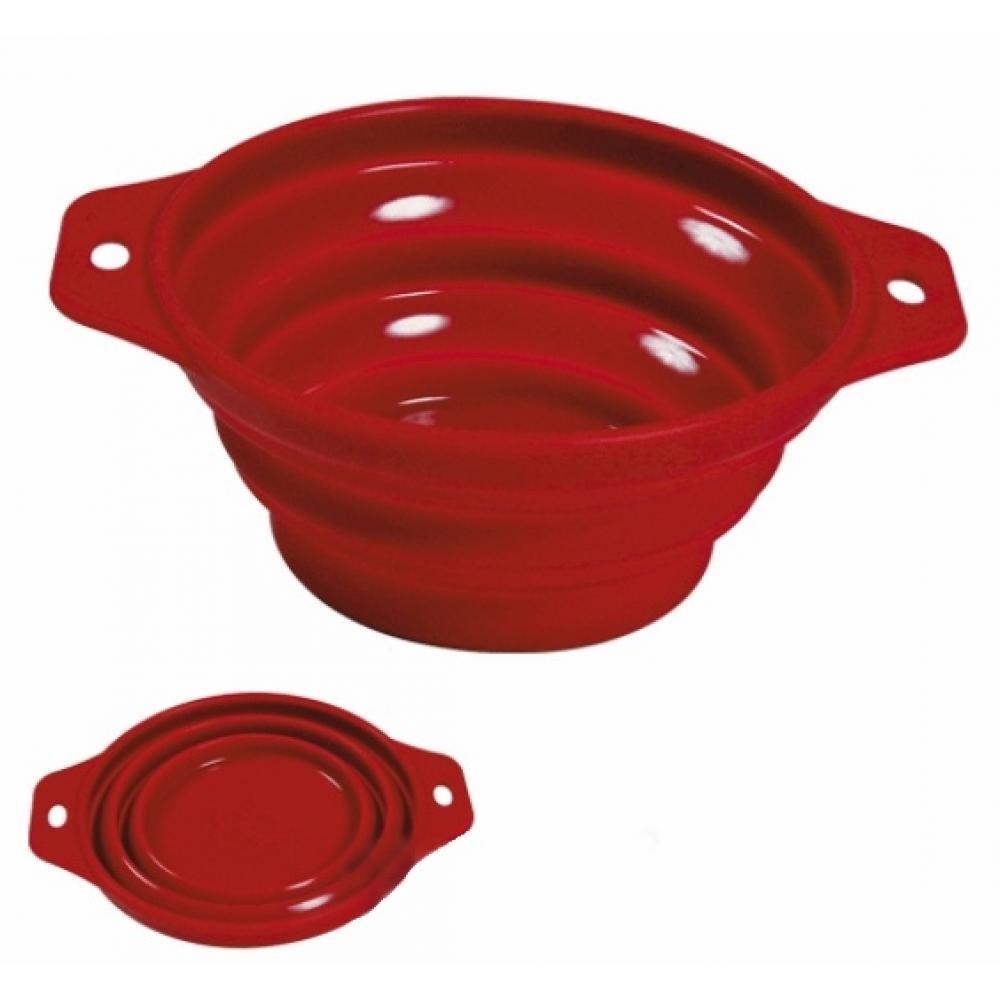 TRIXIE Cestovná skladacia silikónová miska červená 0,5 litra