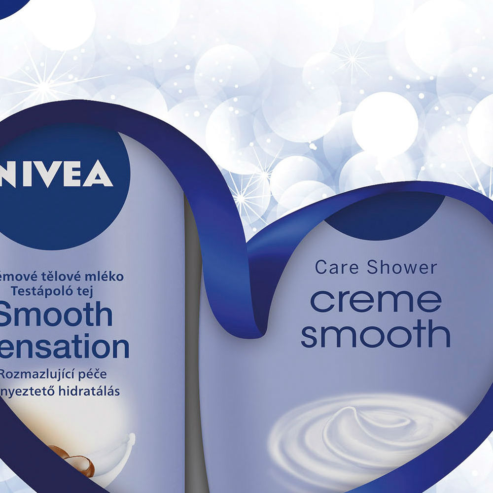 Nivea Body Smooth Krémové tělové mléko pro suchou pokožku Smooth Sensation 250 ml + Sprchový gel Creme Smooth 250 ml dárková sada