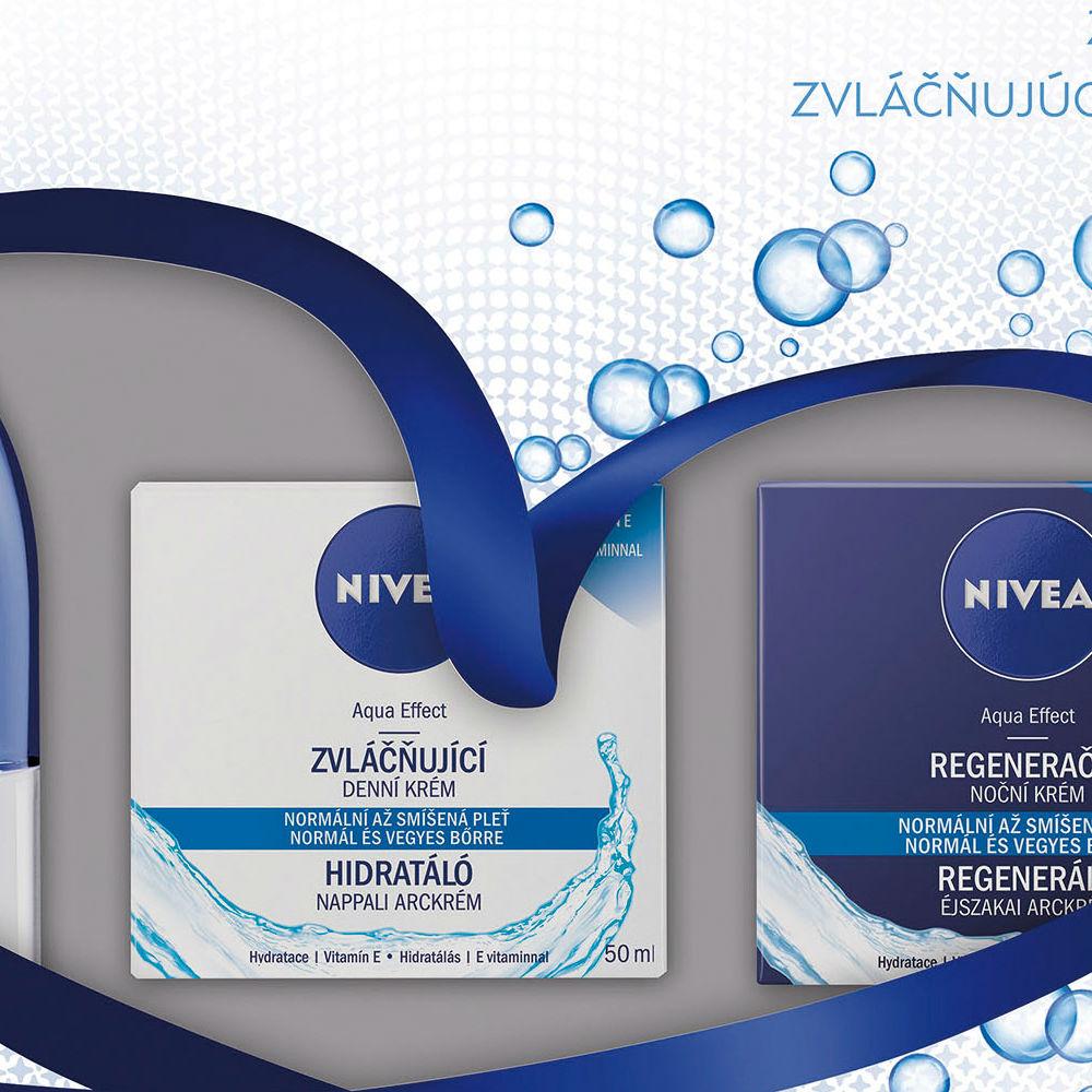 Nivea Dárková sada se zvláčňující péčí o pleť FACE BLUE Dvoufázový odličovač očí a make-upu 125 ml + Zvláčňující denní krém pro normální až smíšenou pleť Pure & Natural 50 ml + Regenerační noční
