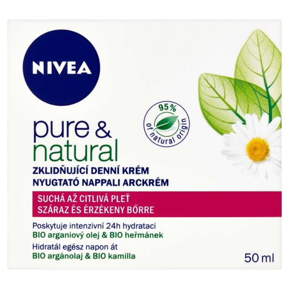 NIVEA Denný krém Pure&Natural pre suchú a citlivú pleť 50 ml