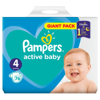 PAMPERS Active Baby-Dry 4 MAXI 7-14 kg 76 kusov