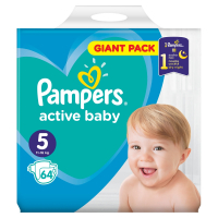PAMPERS Active Baby-Dry 5 JUNIOR 11-18 kg 64 kusov