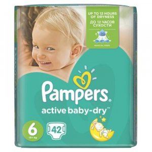 PAMPERS Active Baby-Dry 6 EXTRA LARGE 15+ kg 42 kusov