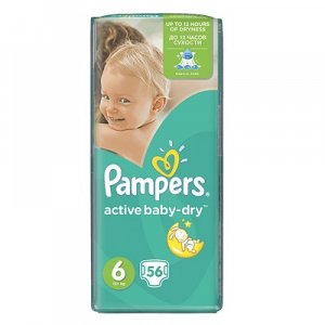 PAMPEERS Active Baby 6 EXTRA LARGE 15+ kg 56 kusov