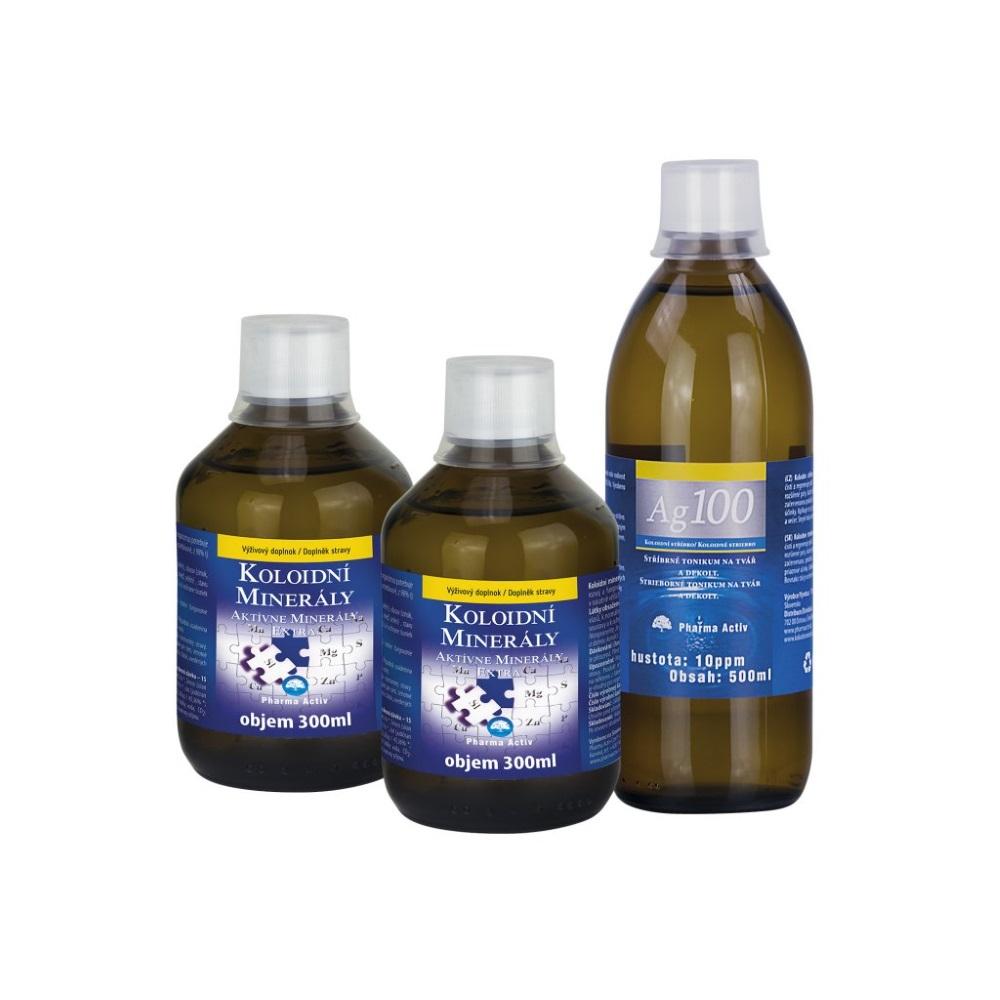 f5a44b35b PHARMA ACTIV Koloidné minerály 2x 300 ml + Koloidné striebro 10 ppm 500 ml