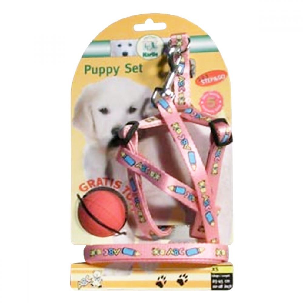 Postroj šteňa nylon + vodítko 25-45cm / 130cm ružové KAR