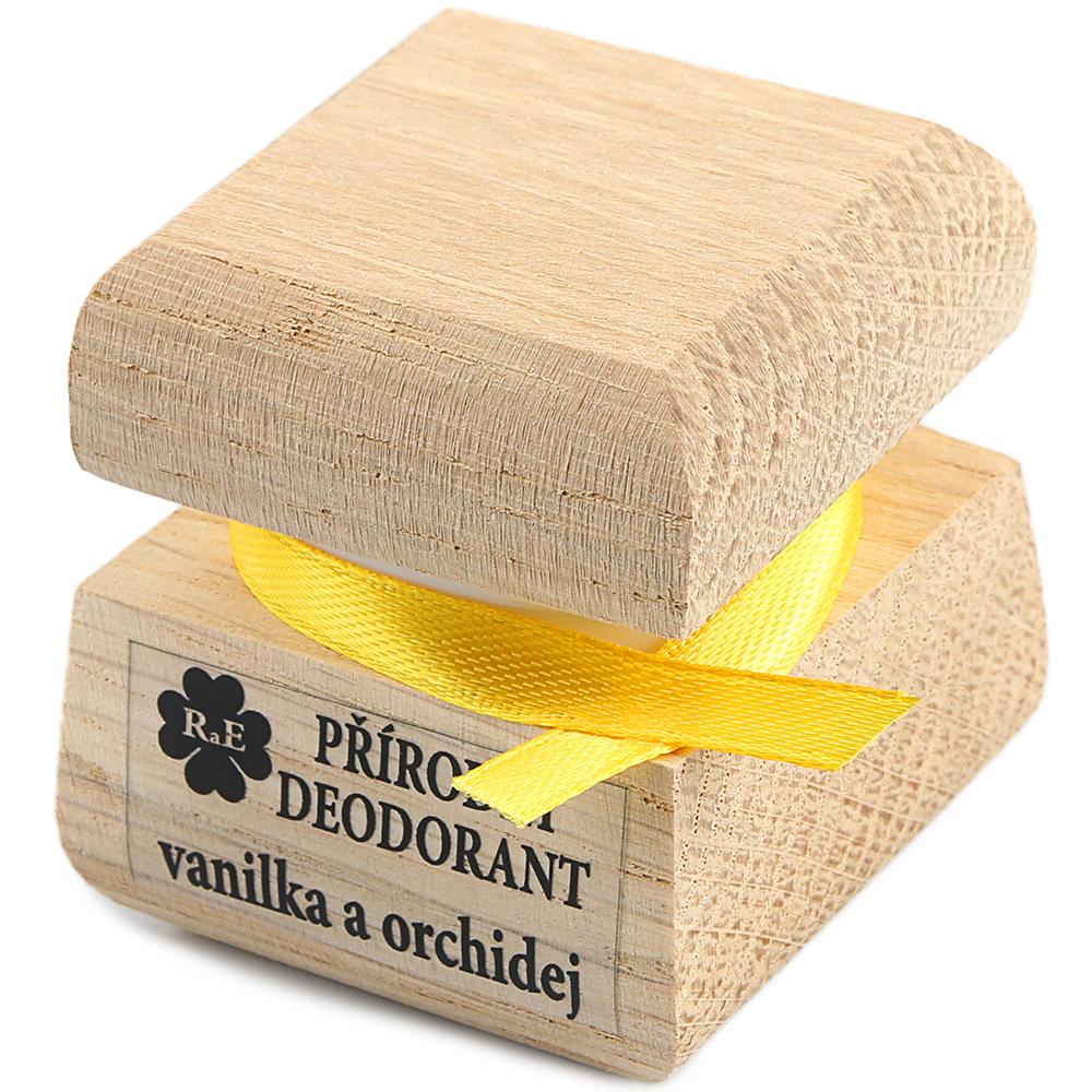 RAE Prírodný krémový dezodorant vanilka orchidea čisto drevená krabička 15 ml