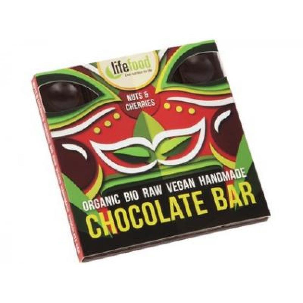 Lifefood Raw čokoláda z nepraženého kakaa s kúskami orechov a čerešní BIO 35 g