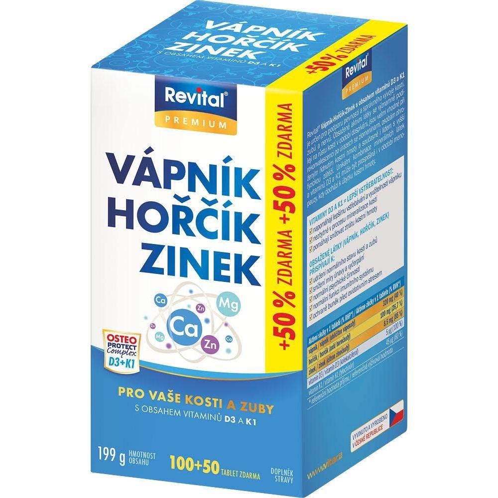 Revital Vápnik, horčík, zinok + D3 + K1 150 tabliet
