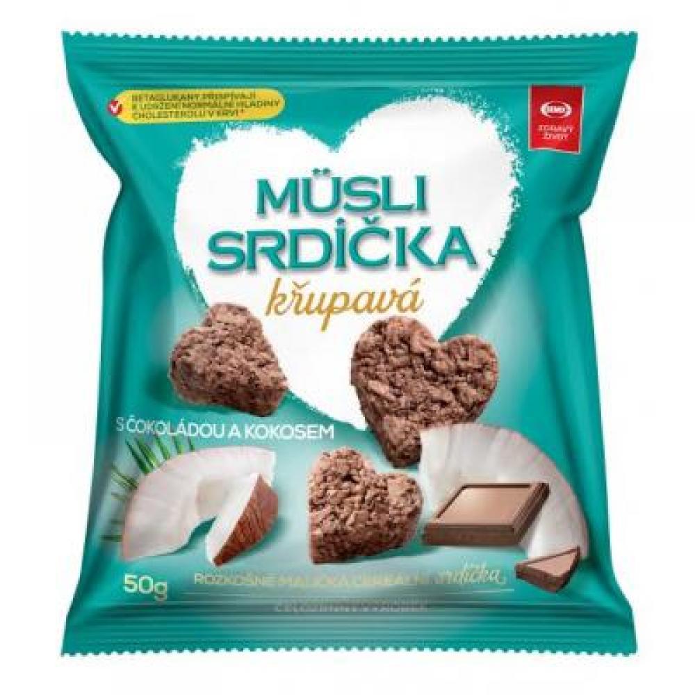 SEMIX Müsli srdiečka chrumkavé s čokoládou a kokosom 50 g