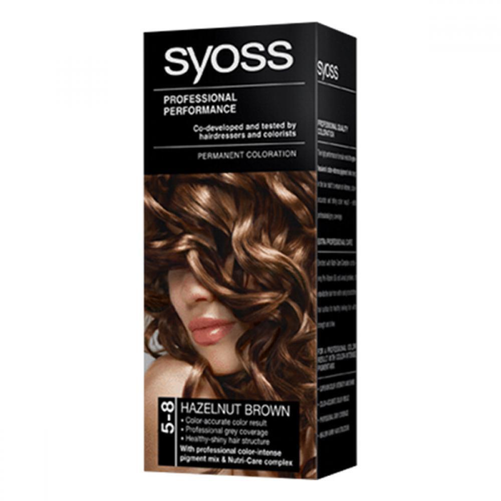 SYOSS farba na vlasy odtieň orieškovo hnedý 5-8