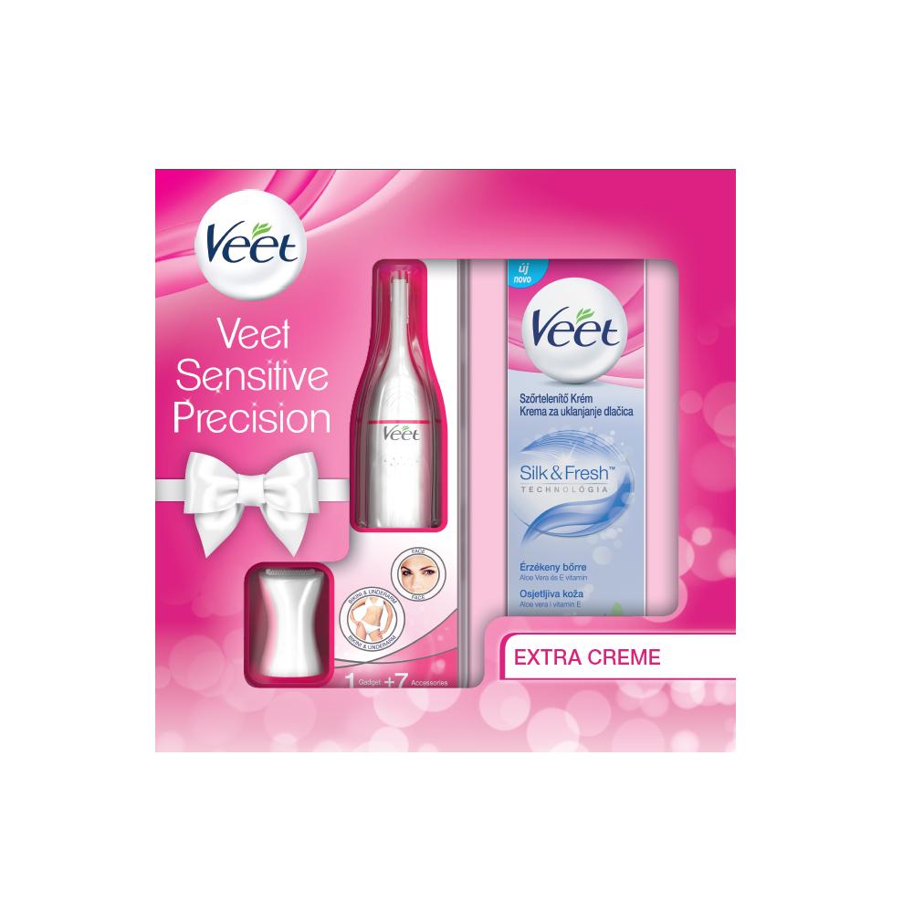 VEET Sensitive Precision Elektrický zastrihávač + Depilačný krém na citlivú pokožku 100 ml
