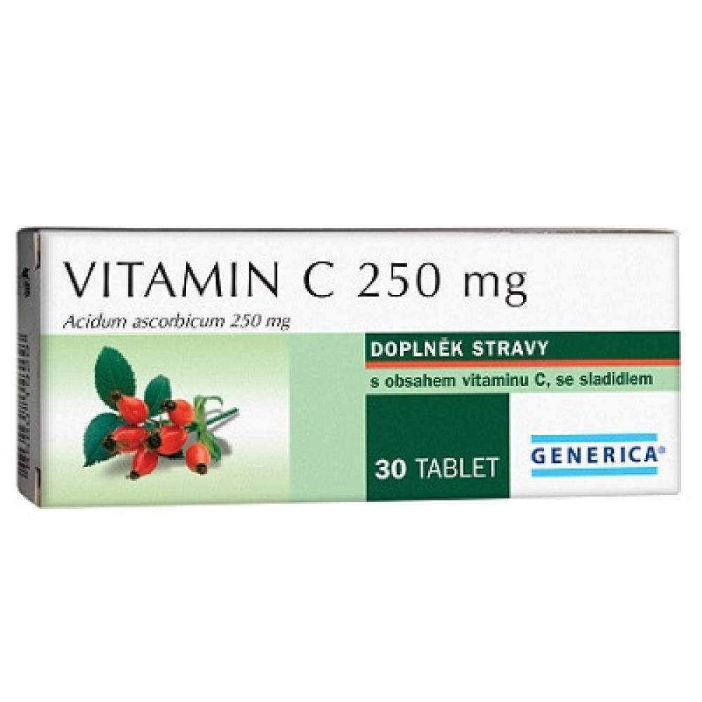 Generica Vitamín C 250 mg 30 tabliet - pri nákupe 2 kusov výrobkov od Generica DIOSVEN(R) gel 50 g ZDARMA